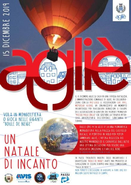 AGLIE - Una mongolfiera in piazza Castello per ammirare il paese dallalto e fare del bene
