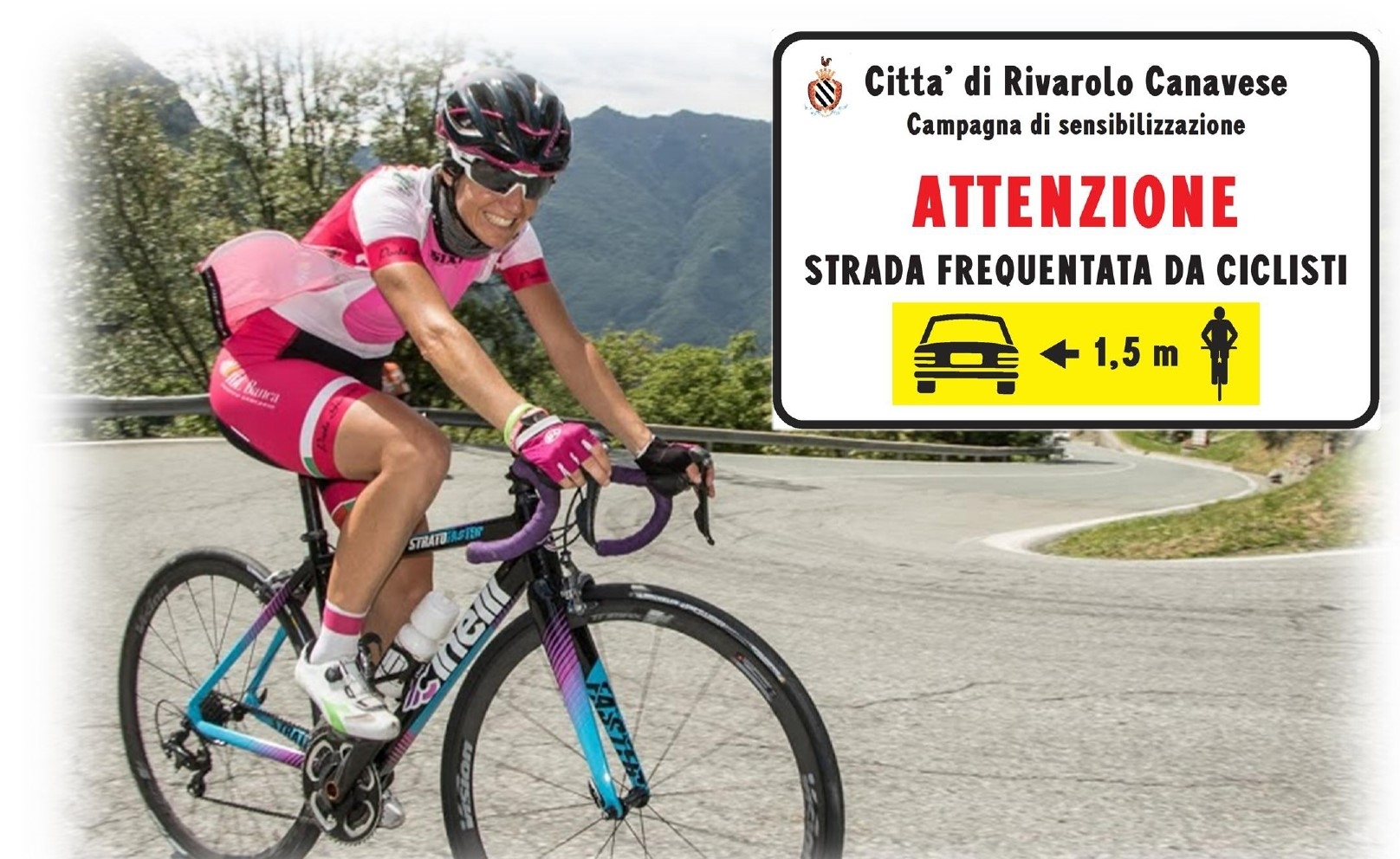 RIVAROLO - «Io rispetto il ciclista»: taglio del nastro per i cartelli stradali che sensibilizzano gli automobilisti alla sicurezza di chi va in bici