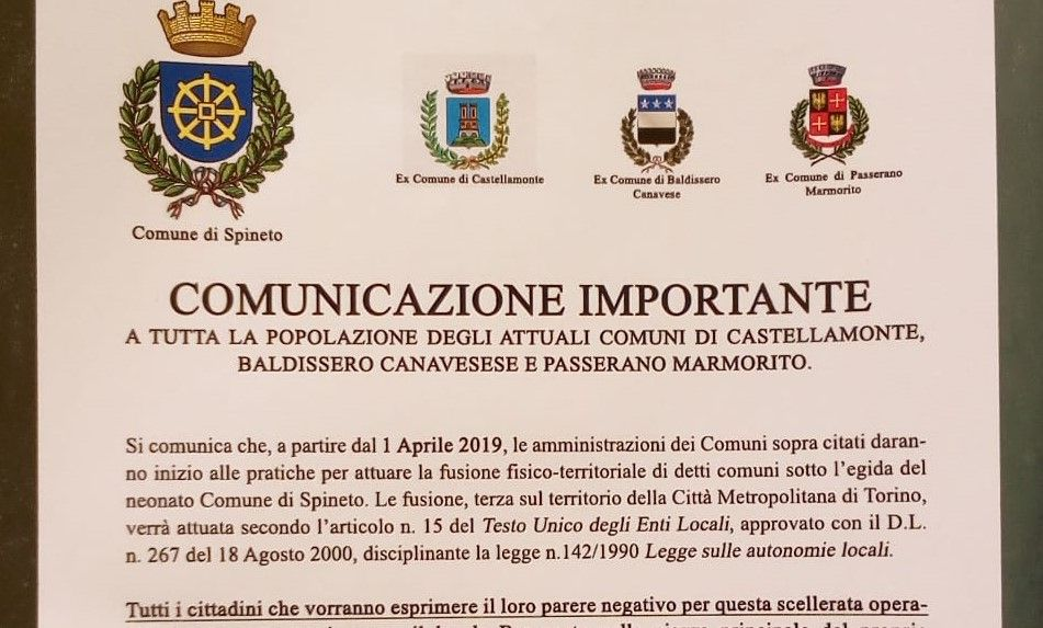 CASTELLAMONTE - Spineto Comune: l'annuncio sui manifesti