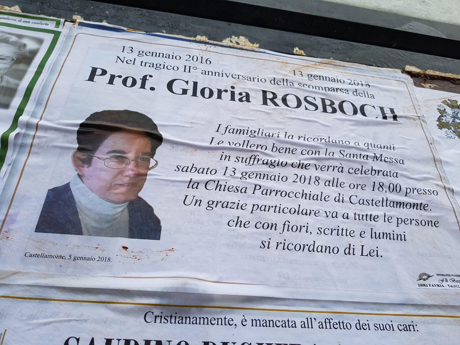 CASTELLAMONTE - Due anni fa l'omicidio di Gloria Rosboch. La famiglia: «Grazie a chi si ricorda di lei»