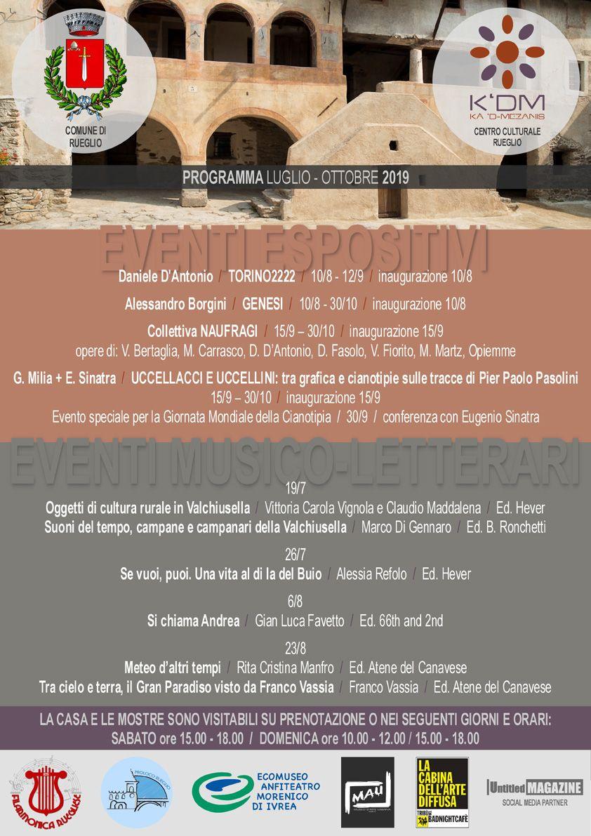 RUEGLIO - Kà 'd-Mezanis: ecco il programma eventi da luglio a ottobre