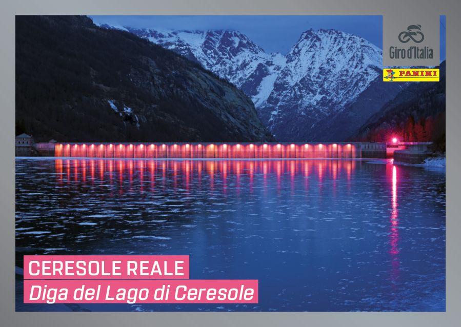CERESOLE REALE - La diga rosa diventa il simbolo del Giro d'Italia, anche sull'album delle figurine Panini