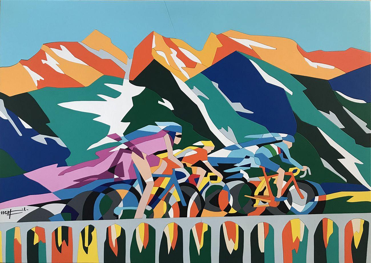 GIRO D'ITALIA - L'opera di Ugo Nespolo celebra la tappa Pinerolo-Ceresole