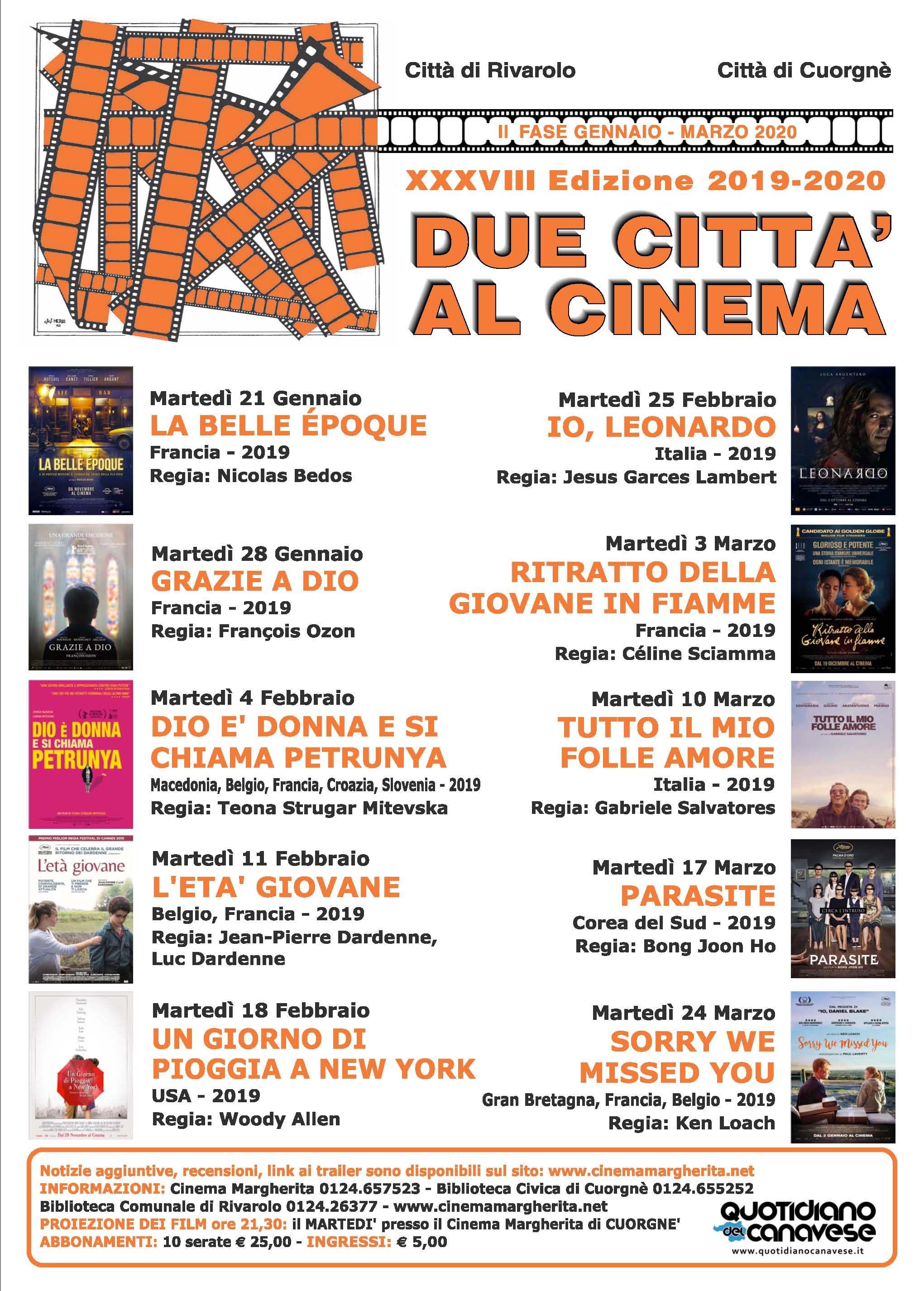 DUE CITTA' AL CINEMA - Dieci nuovi film per la seconda fase della rassegna dal 21 gennaio al 24 marzo - I FILM IN PROGRAMMA
