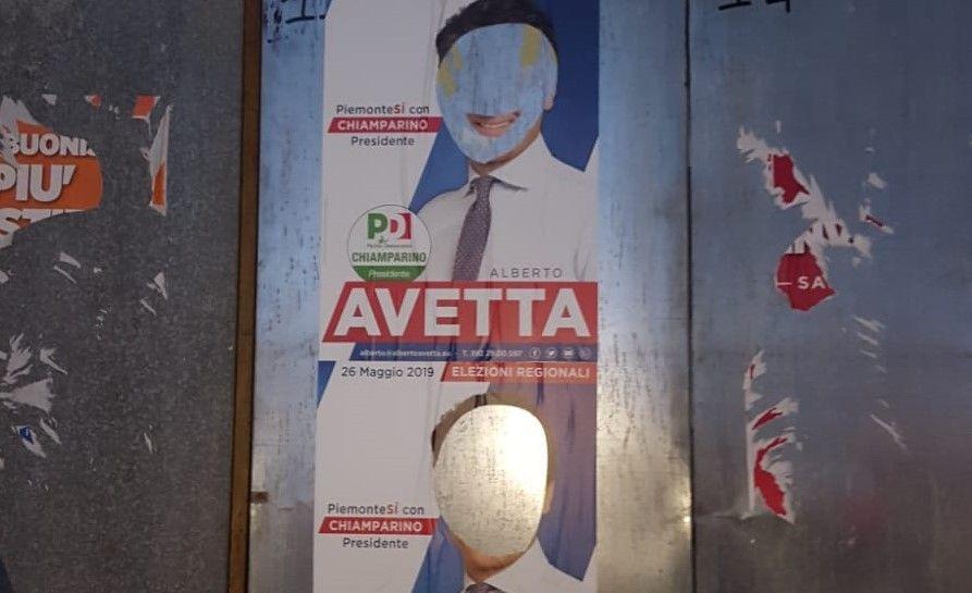 RIVAROLO - Vandalizzati i manifesti dei candidati con Chiamparino