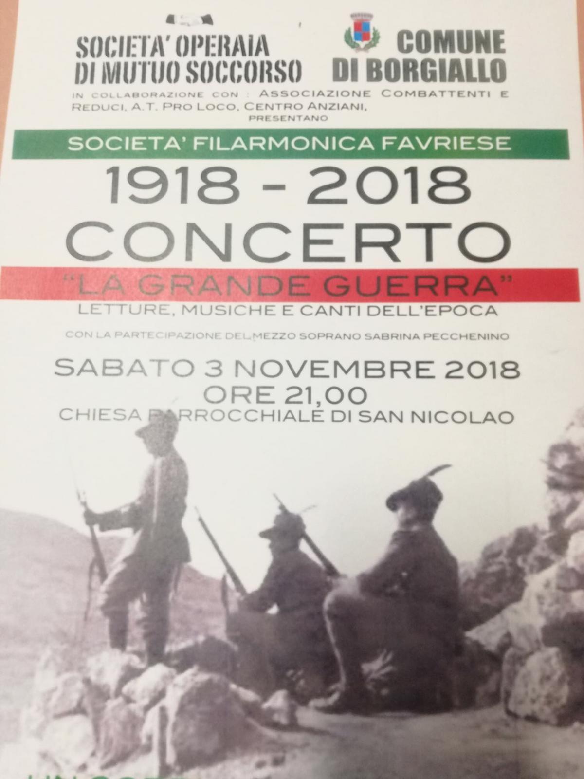 BORGIALLO - La Grande Guerra: concerto del centenario 1918–2018