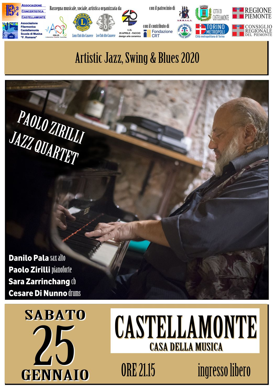 CASTELLAMONTE - Ultimo concerto della rassegna Artistic Jazz, Swing and Blues