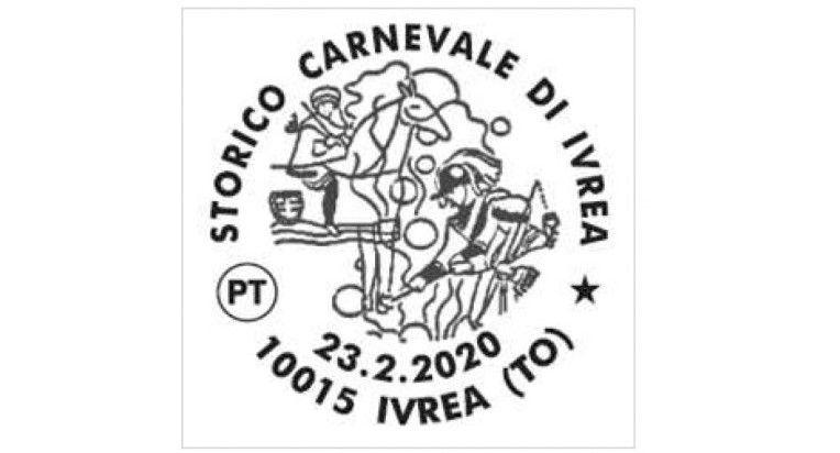 IVREA - Un annullo delle Poste celebra lo «Storico Carnevale»