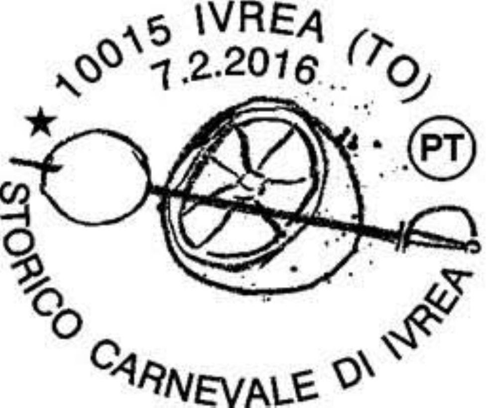 IVREA - Annullo speciale delle Poste per il Carnevale 2016