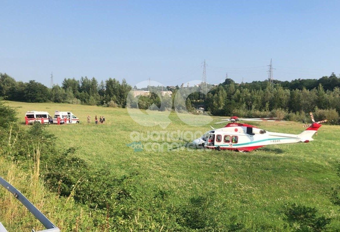 CUORGNE' - Precipita con il parapendio a Salto: una donna trasportata in elicottero al Cto