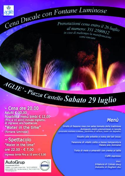 AGLIE' - Le fontane luminose colorano piazza Castello e la straordinaria «Cena Ducale»