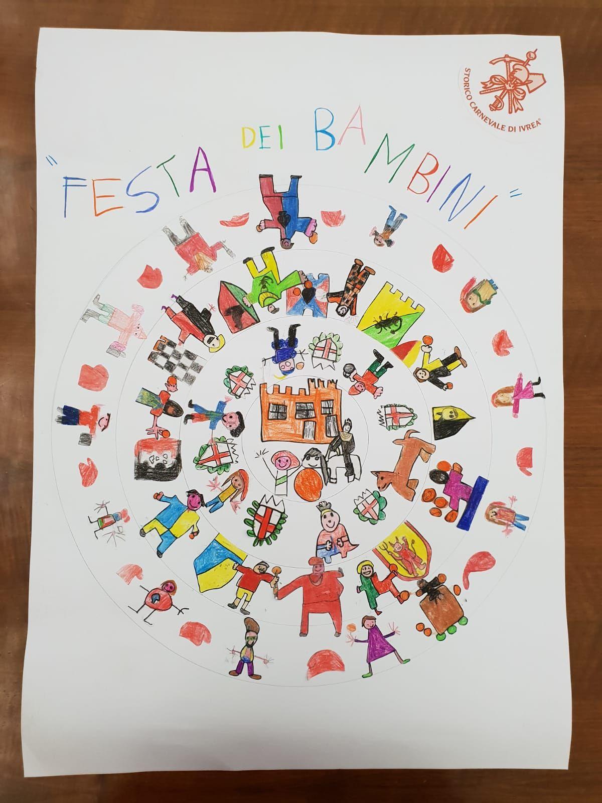 CARNEVALE IVREA - Della scuola dell'infanzia San Michele il manifesto ufficiale della Festa dei bambini