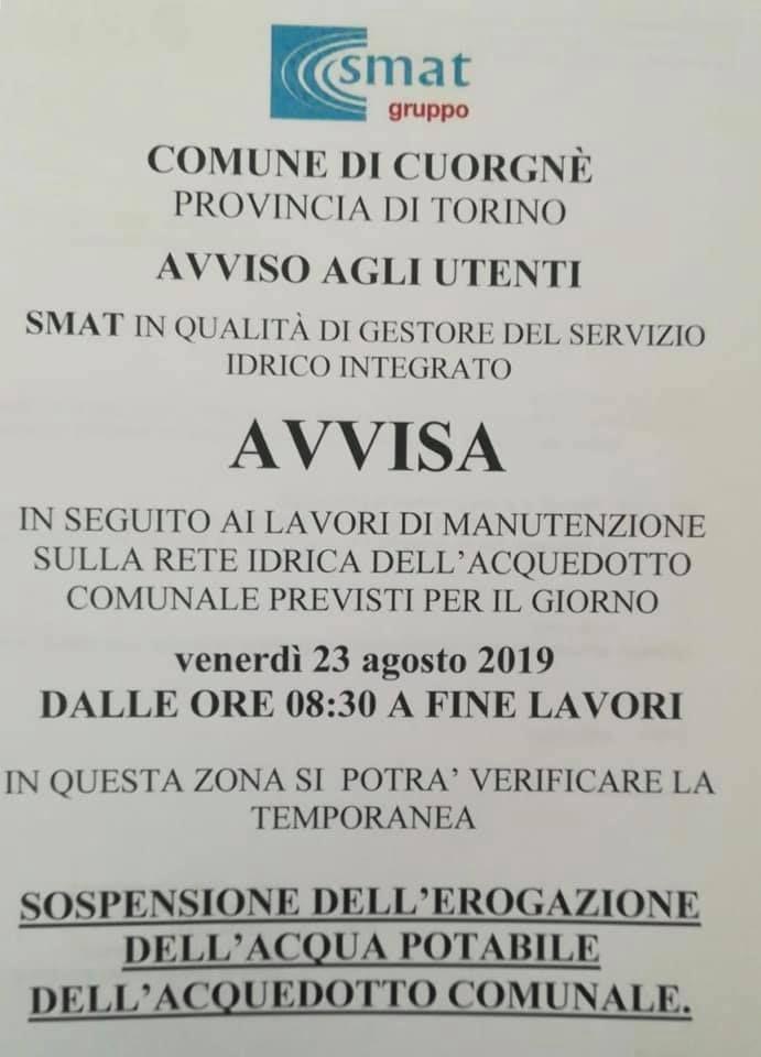 CUORGNE - Sospensione dell'erogazione dell'acqua potabile domani in Via Torino e limitrofi