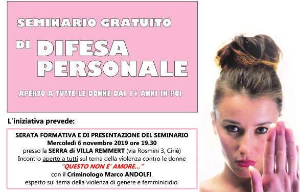 CIRIE' - Un seminario di difesa personale gratuito per le donne