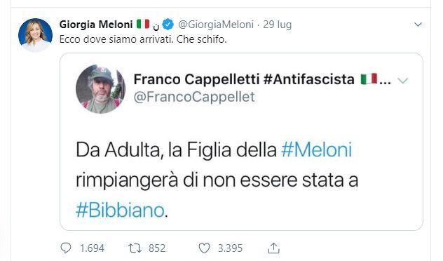IVREA - Un tweet su Bibbiano del blogger eporediese Cappelletti indigna Giorgia Meloni e il web