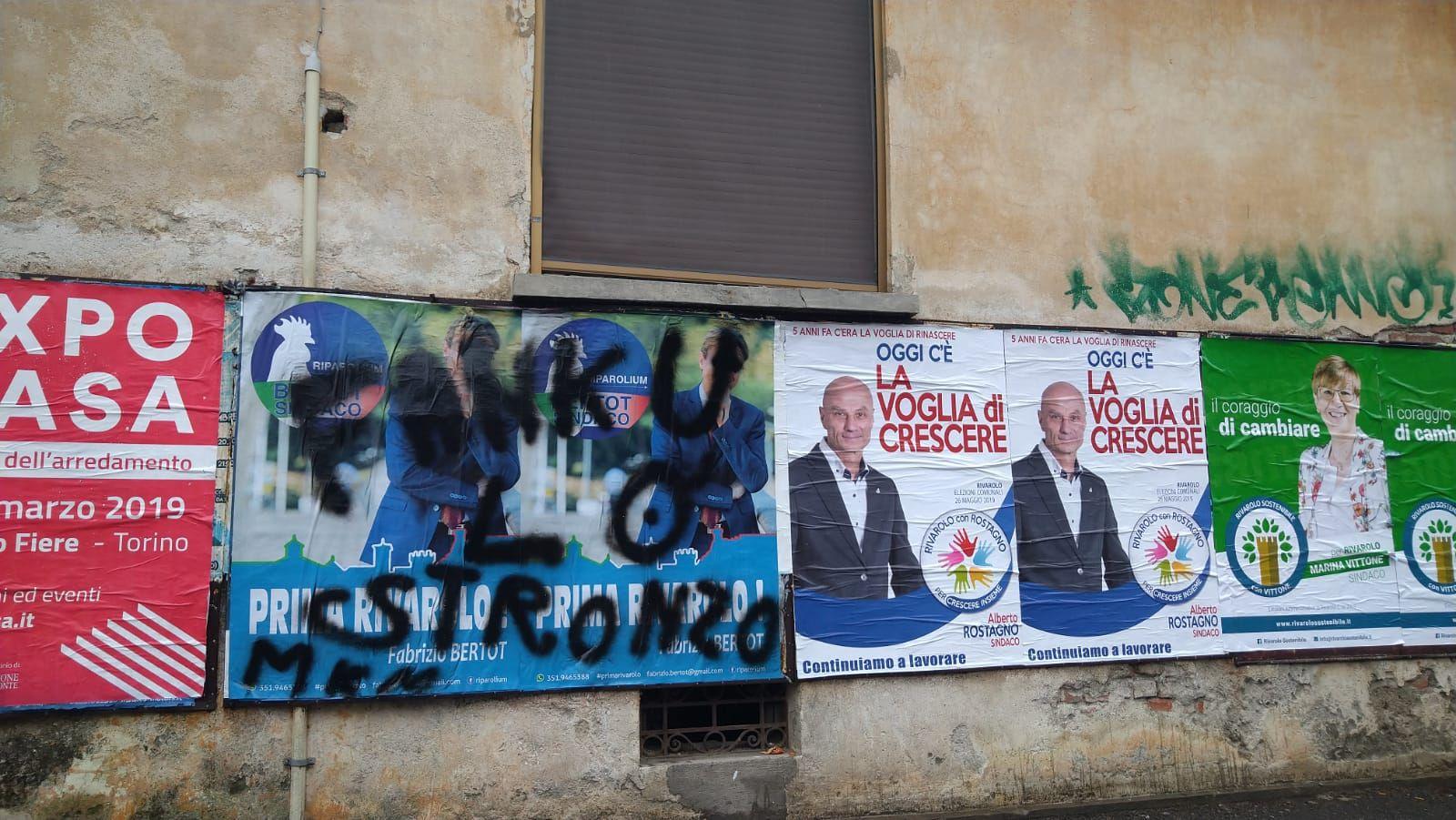 Arredamenti Rivarolo Canavese rivarolo - vandalizzati alcuni manifesti della lista di