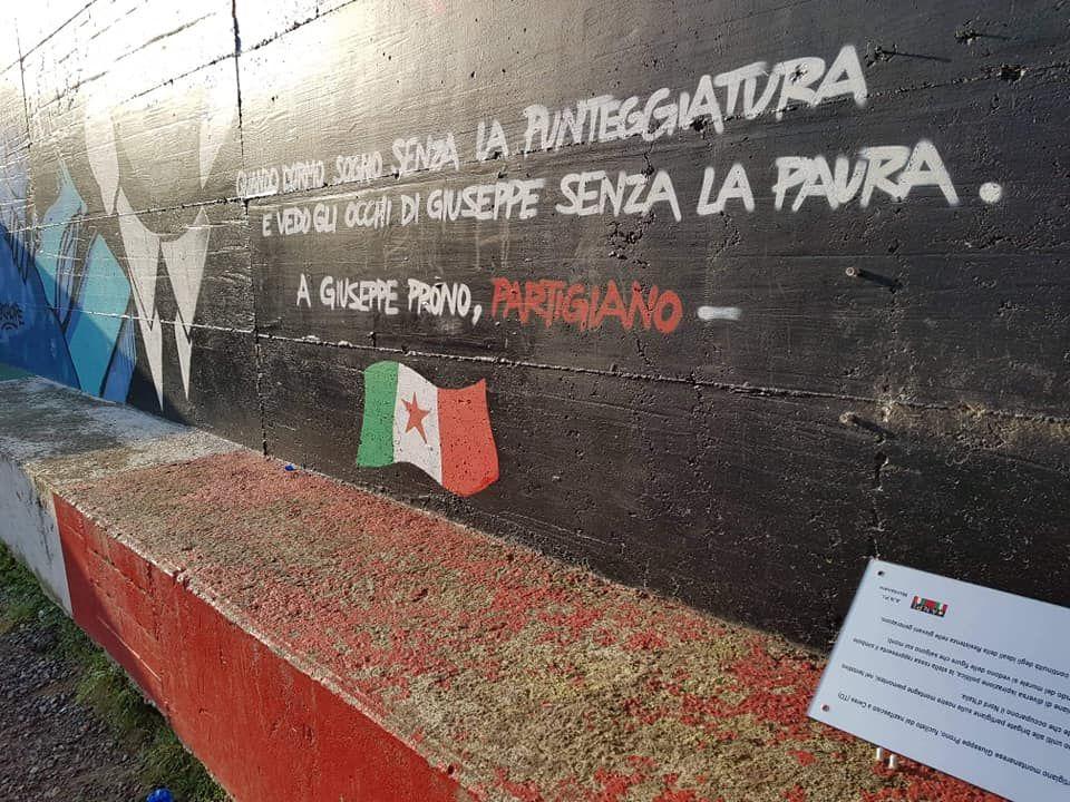 MONTANARO - Sradicata la targa del murales dedicato a Prono