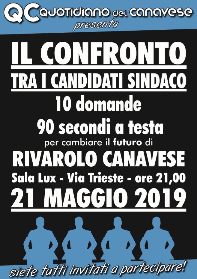 ELEZIONI RIVAROLO - Il confronto tra i candidati a sindaco martedì 21 maggio