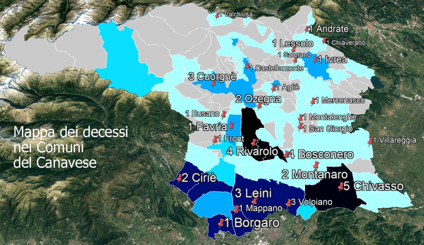 CORONAVIRUS - Il covid-19 non dà tregua in Canavese: ancora morti a Cuorgnè e Volpiano - LA MAPPA COMUNE PER COMUNE