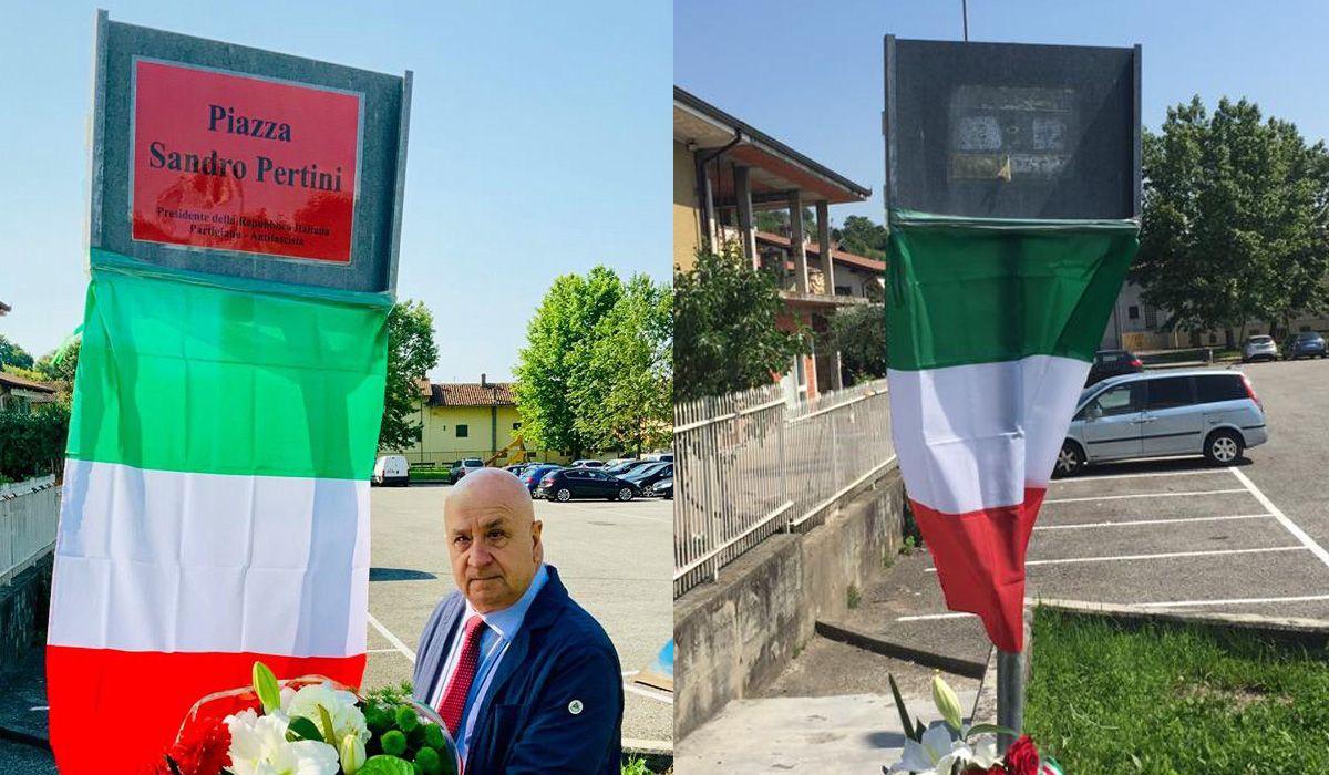CASTELLAMONTE - Targa per Sandro Pertini non autorizzata: i vigili, su richiesta del sindaco, la rimuovono - FOTO