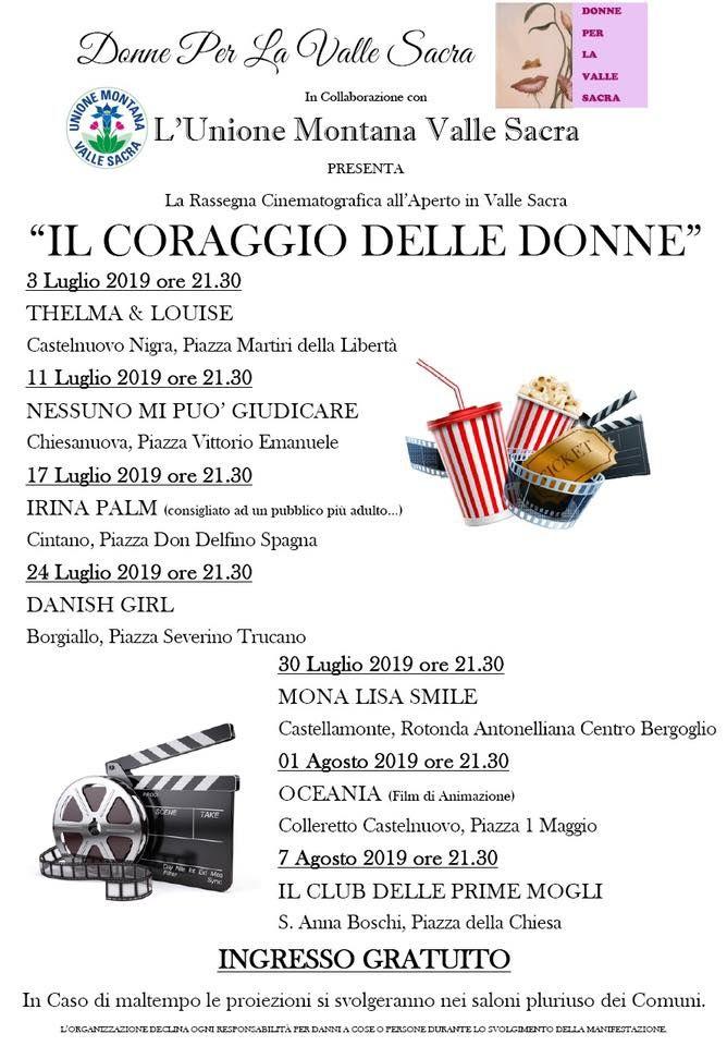 VALLE SACRA - Cinema all'aperto nelle piazze con la rassegna «Il coraggio delle donne»