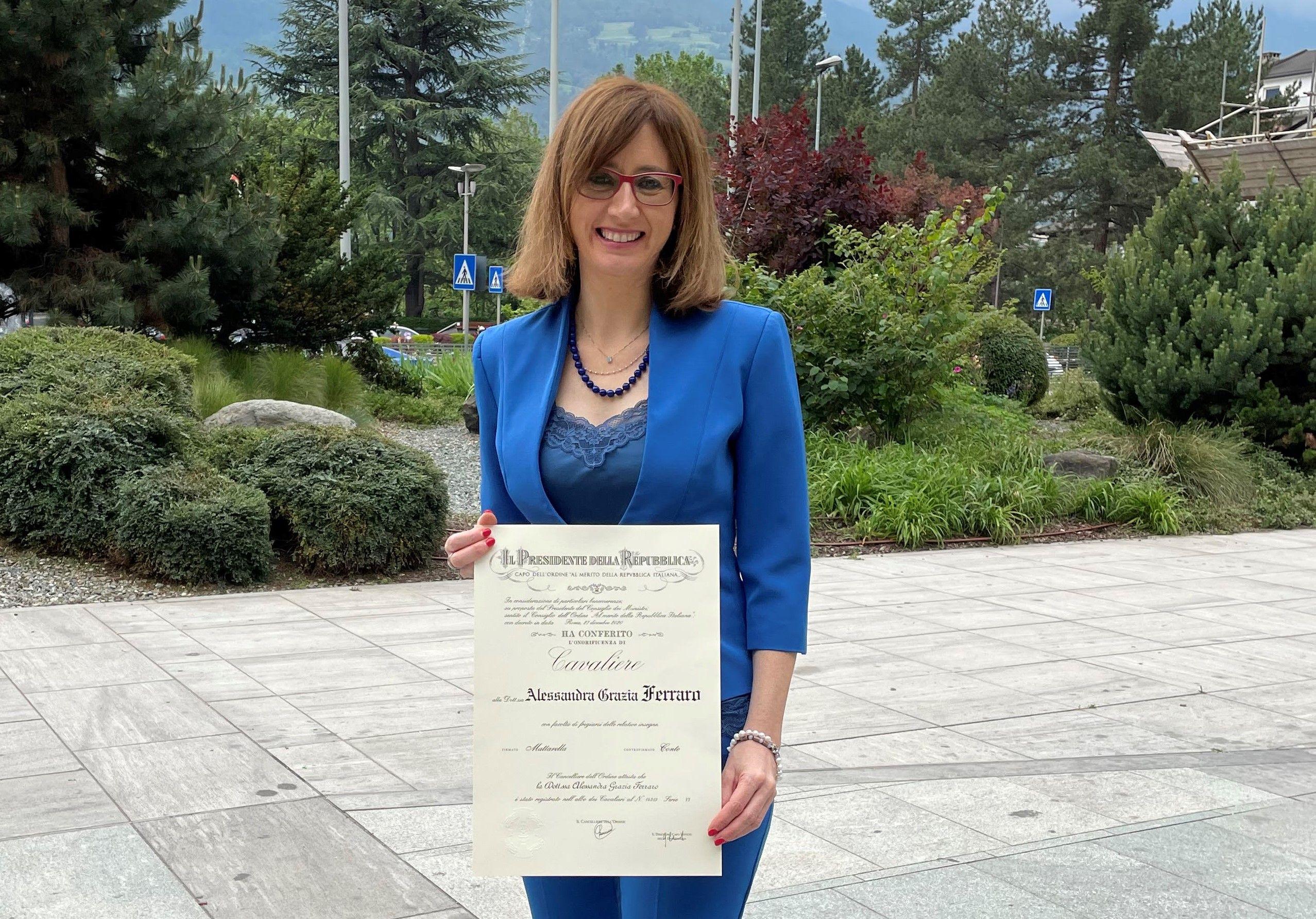 BORGOFRANCO - La canavesana Alessandra Ferraro nominata Cavaliere della Repubblica